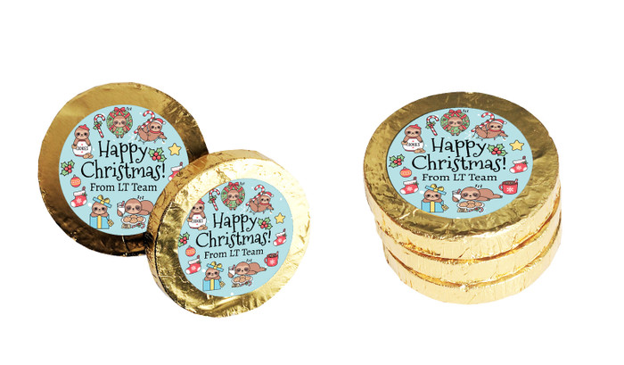Sloth Personalised Christmas Chocolate Coins