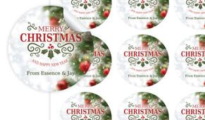 Bokeh Tree Christmas Personalised 65mm Labels