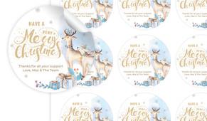 Deer Watercolour Christmas Personalised 65mm Labels