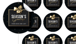 Glossy Gift Black Christmas Personalised 65mm Labels