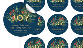 Joy Christmas Personalised 65mm Labels