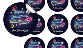 Neon Christmas Personalised 65mm Labels