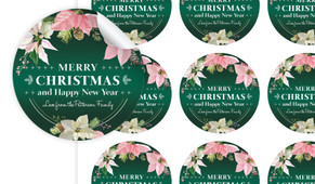 Pink On Green Christmas Personalised 65mm Labels