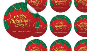 Red Festive Christmas Personalised 65mm Labels