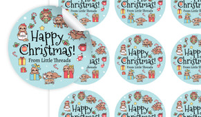Sloth Christmas Personalised 65mm Labels