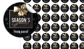 Glossy Gift Black Christmas Personalised 25mm Labels