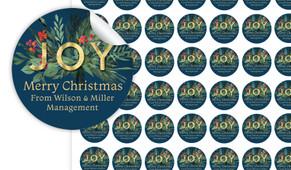 Joy Christmas Personalised 25mm Labels