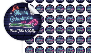 Neon Christmas Personalised 25mm Labels