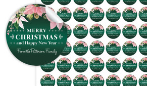 Pink On Green Christmas Personalised 25mm Labels