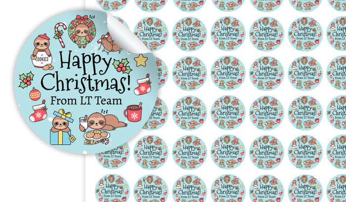 Sloth Christmas Personalised 25mm Labels