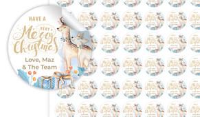 Deer Watercolour Christmas Personalised 25mm Labels
