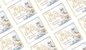 Deer Watercolour Personalised Christmas Mini Chocolates