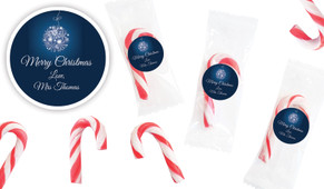 Blue Ornament Personalised Mini Candy Canes