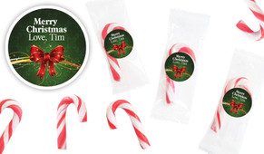 Christmas Bow Personalised Mini Candy Canes