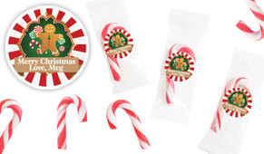 Gingerbread Man Personalised Mini Candy Canes