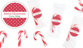 Red Polkadot Personalised Mini Candy Canes