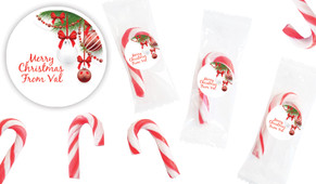 White Baubles Personalised Mini Candy Canes