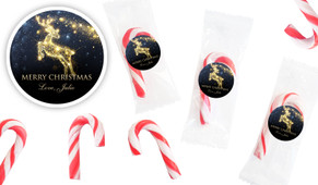 Glowing Reindeer Personalised Mini Candy Canes