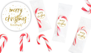 Gold Confetti Stars Personalised Mini Candy Canes