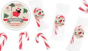 Bah Hum Pug Personalised Mini Candy Canes