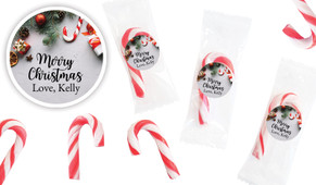 Christmas Background Personalised Mini Candy Canes