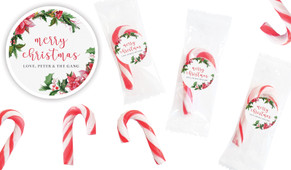 Poinsettia Personalised Mini Candy Canes
