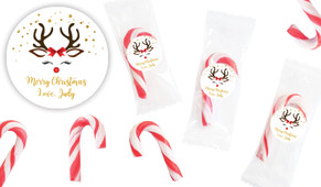 Reindeer Face Personalised Mini Candy Canes
