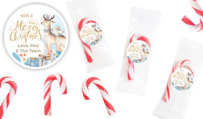 Deer Watercolour Personalised Mini Candy Canes