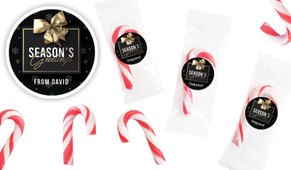 Glossy Gift Black Personalised Mini Candy Canes