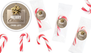 Glossy Gift Gold Personalised Mini Candy Canes