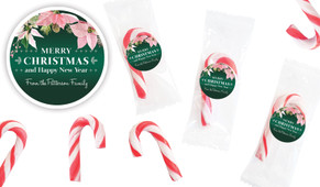 Pink On Green Personalised Mini Candy Canes