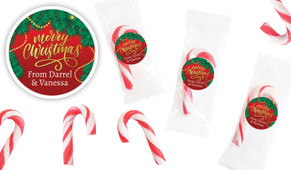 Red Festive Personalised Mini Candy Canes