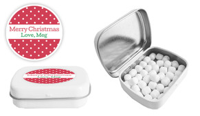 Red Polkadot Christmas Personalised Mint Tin