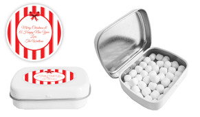 Stripes In Red Christmas Personalised Mint Tin