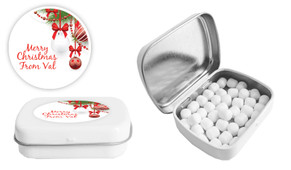 White Baubles Christmas Personalised Mint Tin