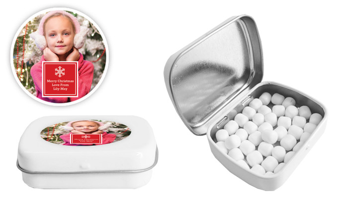 A Photo With Square Christmas Personalised Mint Tin