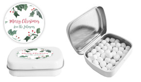 Holly Watercolour Christmas Personalised Mint Tin