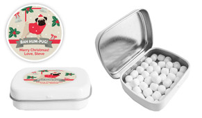 Bah Hum Pug Christmas Personalised Mint Tin