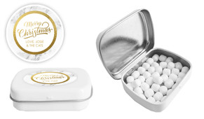 Marble And Gold Christmas Personalised Mint Tin