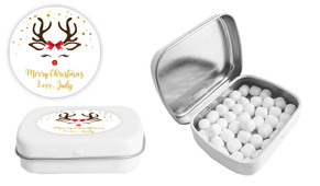 Reindeer Face Christmas Personalised Mint Tin