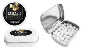 Glossy Gift Black Christmas Personalised Mint Tin