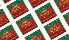 Red Festive Personalised Christmas Mini Chocolates