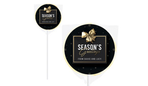 Glossy Gift Black Christmas Personalised Lollipops