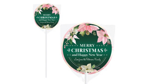 Pink On Green Christmas Personalised Lollipops