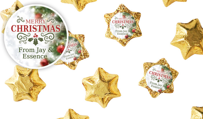 Bokeh Tree Personalised Christmas Chocolate Stars
