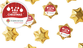 Corporate Personalised Christmas Chocolate Stars