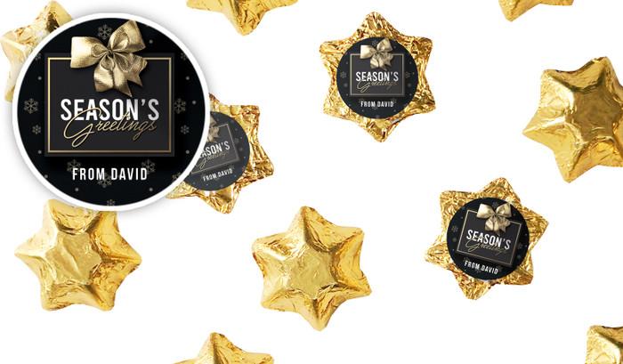 Glossy Gift Black Personalised Christmas Chocolate Stars