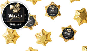 Glossy Gift Black Personalised Christmas Chocolate Stars