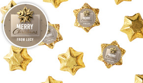 Glossy Gift Gold Personalised Christmas Chocolate Stars
