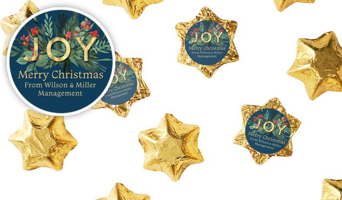 Joy Personalised Christmas Chocolate Stars